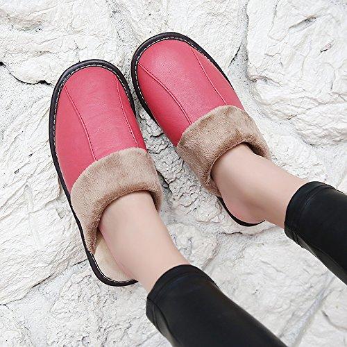 Soggiorno fankou Autunno Inverno cotone pantofole indoor uomini e donne coppie home pavimenti in legno caldo e pantofole inverno gancio ,41-42, cocomero rosso
