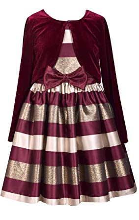 5ae722312633d7 Bonnie Jean Big Girl s 7-16 Holiday Christmas Stripe Metallic Party Dress  Velvet Cardigan (