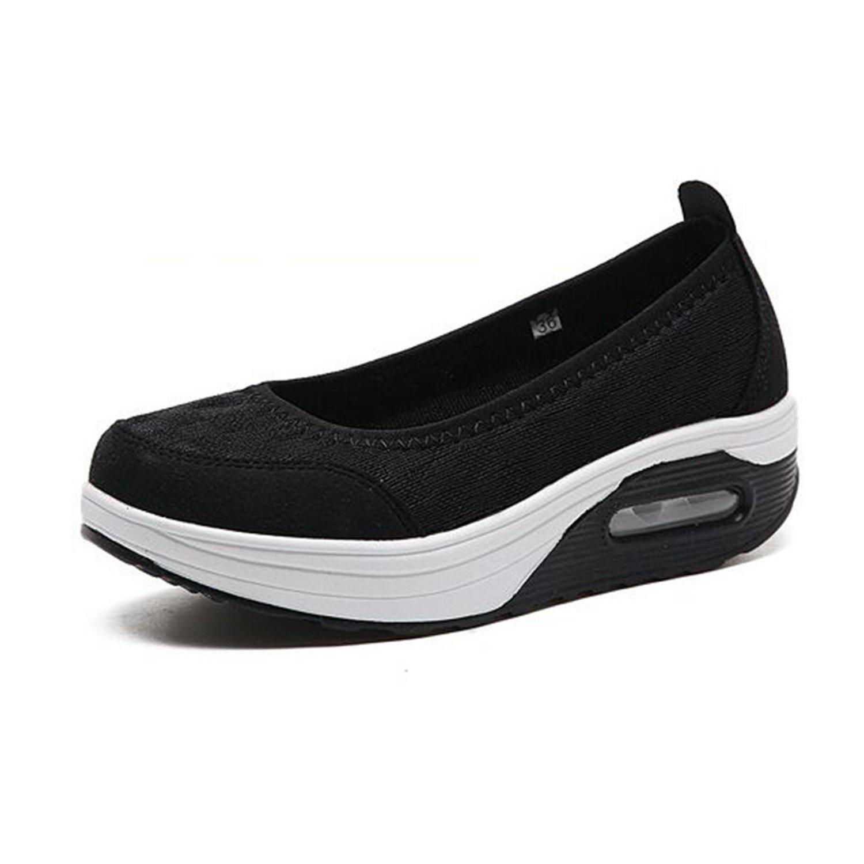 Amazon.com | Feilongzaitianba Women Flat Platform Shoes Woman Casual Air Mesh Shoes Sway Gray Fabric Shoes Zapatos Mujer | Flats