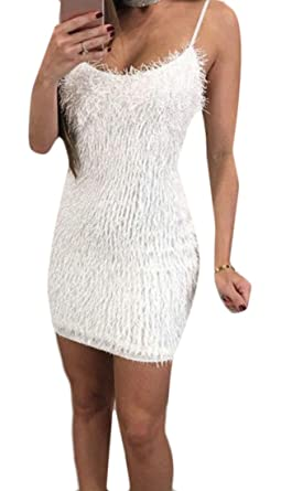 314f95c2b822 ARTFFEL-Women Sexy Spaghetti Strap Fuzzy Bodycon Night Club Mini Slip Dress  White US XS