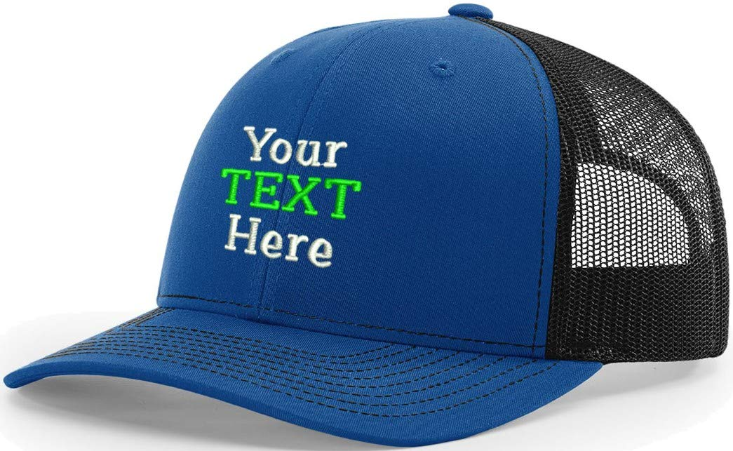 Custom Embroidery Trucker Mesh Snapback Your Text Here One Size 112 (Royal/Black, 12)