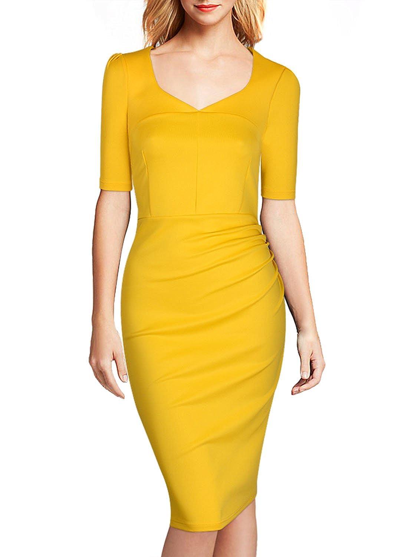 miusol damen 1 2 arm sommerkleid cocktailkleid mit raffung karree ausschnitt kleid blau gelb. Black Bedroom Furniture Sets. Home Design Ideas