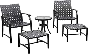 eclife Outdoor Patio Strap Strapping Chairs and Ottoman, Patio Furniture Sets 5 PCS W/Glass Top Coffee Table