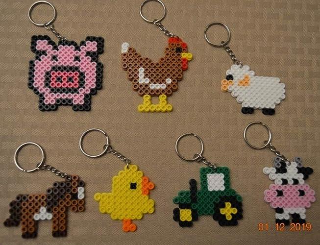 Amazon Com Farm Animal Party Favors Set Of 7 Keychains Handmade
