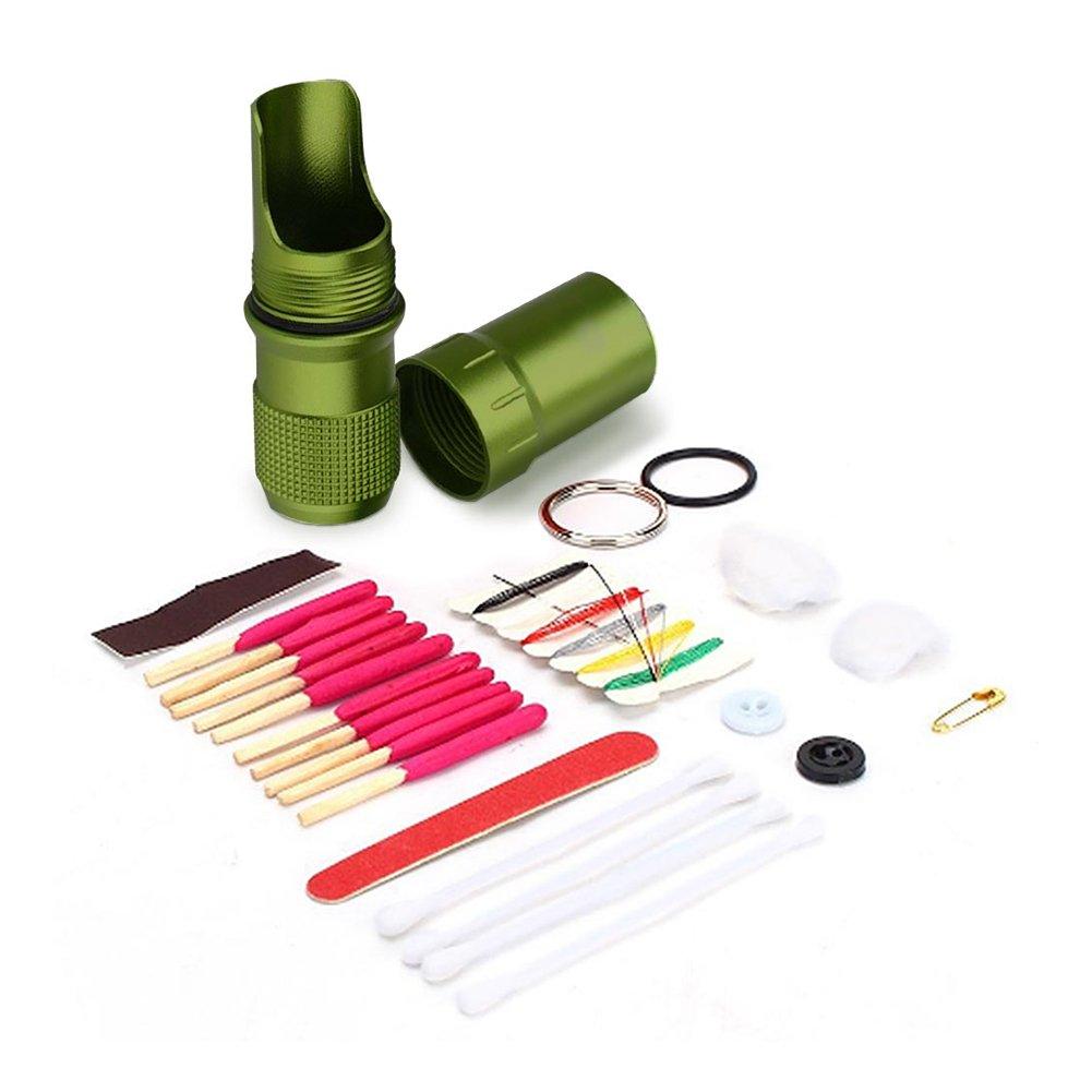 Yosoo Cápsula Seal – Soporte para botella de depósito de funda impermeable Supervivencia EDC Caja de herramientas para senderismo emergencia Gear Viaje Verde verde