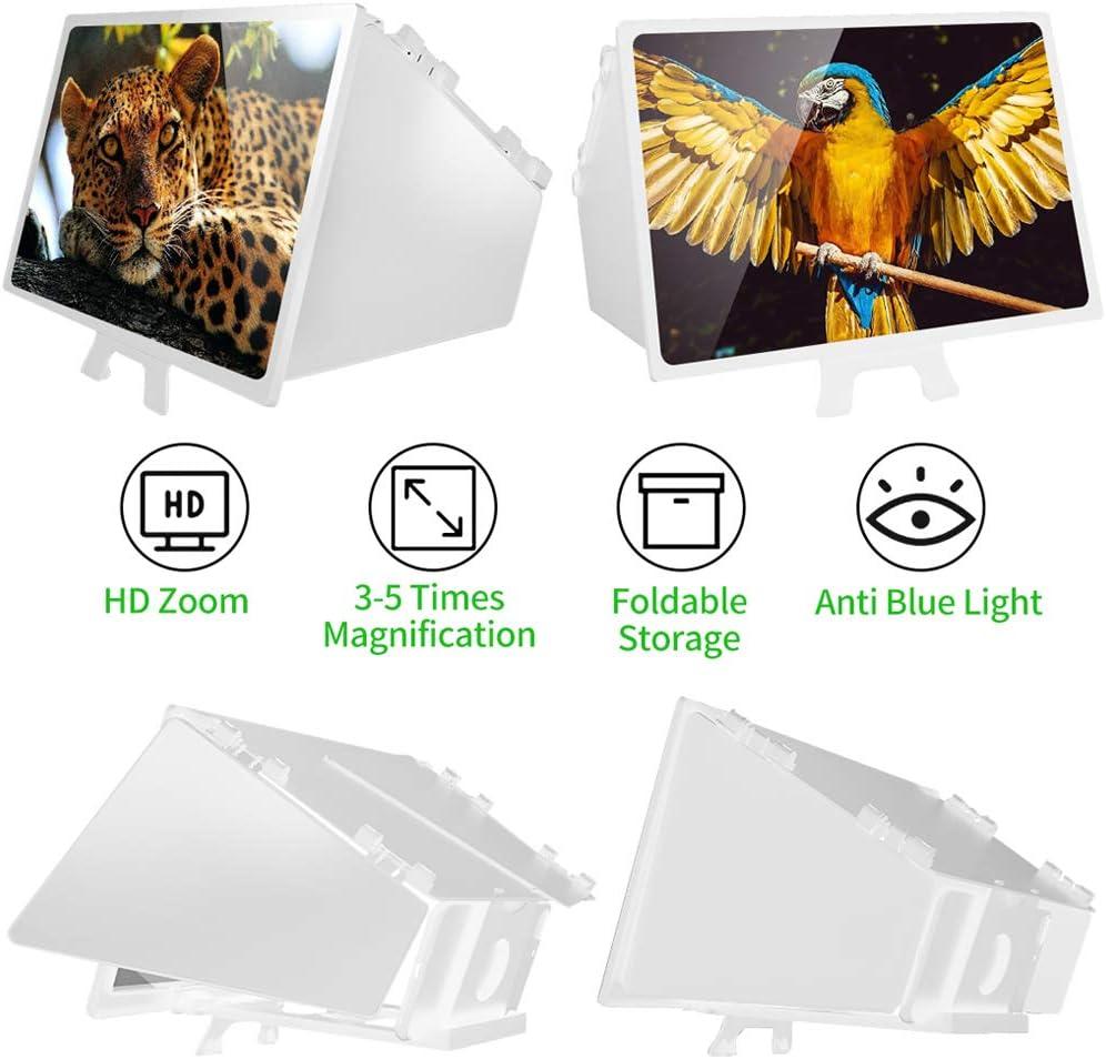 12 Pouces Noir Wenosda Loupe d/écran de T/él/éphone Support de Support pour T/él/éphones Pliables avec /écrans Grossissants pour Films HD 6D pour Projecteur Mobile pour T/él/éphone Portable