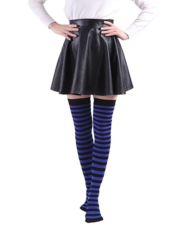 935794c4e HDE Women s Plus Size Striped Stockings Thigh High Over the Knee OTK Sheer  Nylons (Blue Black Stripes) at Amazon Women s Clothing store