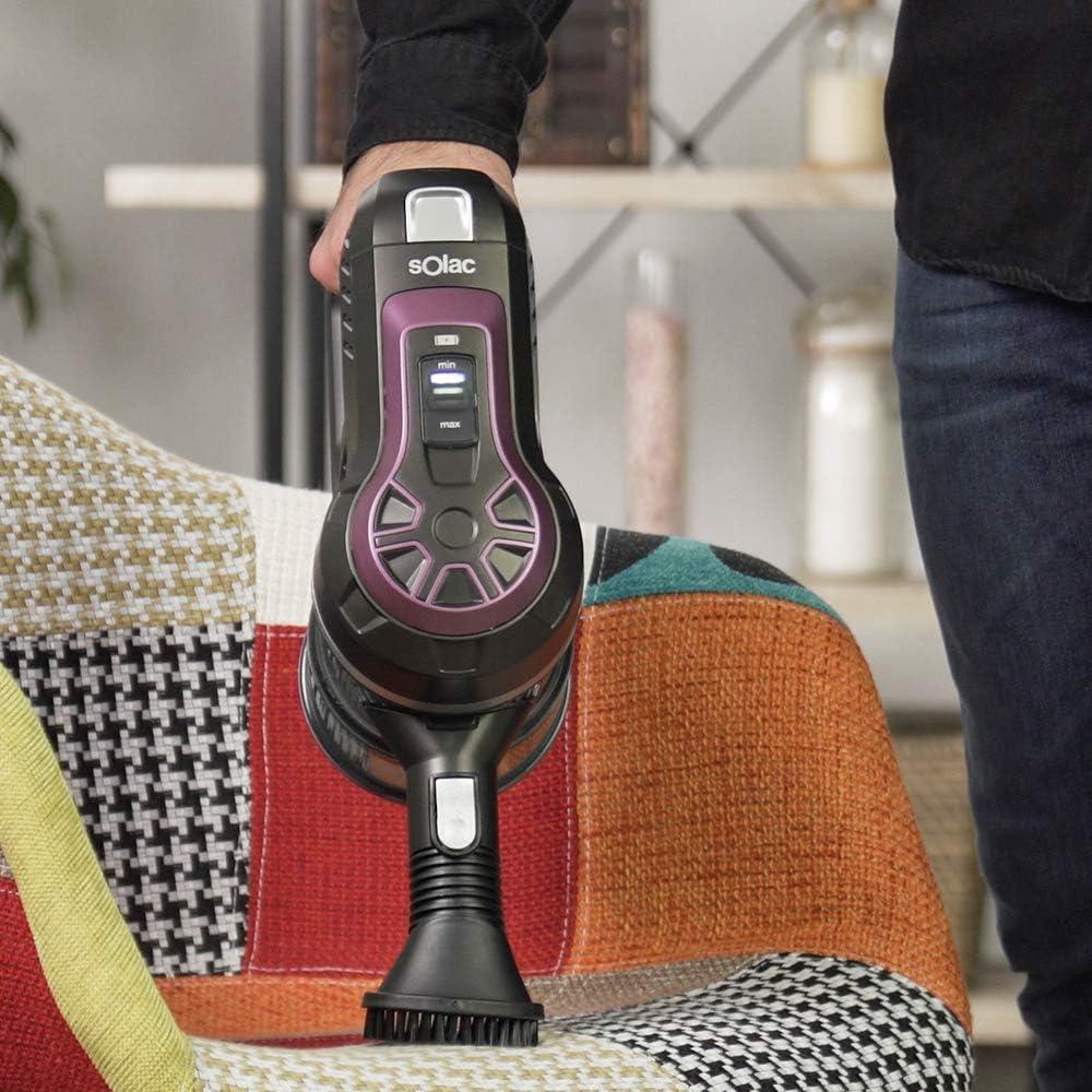 Solac Turbobat Expert - Aspirador sin cable 2en1, Aspirador Escoba y Aspirador de Mano, 2 velocidades, Accesorio lanza y cepillo, Cyclonic System, Filtración HEPA, Capacidad 0.9 l, Luz LED, Silencioso: Amazon.es: Hogar