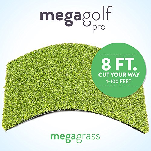 MegaGrass New 8' Roll Wholesale Custom Cut 8Ft x 55Ft Artificial Grass for Golf Putts Sports Outdoor or Indoor Green Faux Fake Grass Decor | 440 SqFt | 0.7