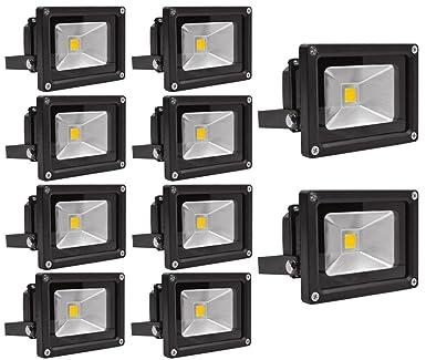 10X 10W Luz Foco Proyector LED Blanco Calido Foco Exterior Foco de ...