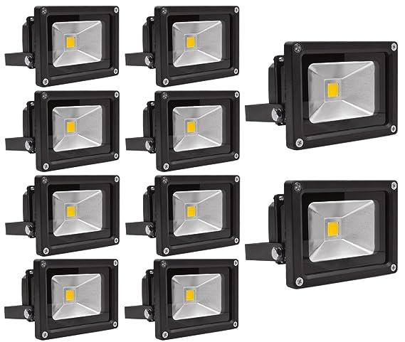 10X 10W Luz Foco Proyector LED Blanco Calido Foco Exterior ...