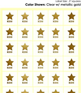 Savor The Memories Meal Stickers for Place Cards (Gold or Black) (Clear with Gold Icon, Kids 1-Star)