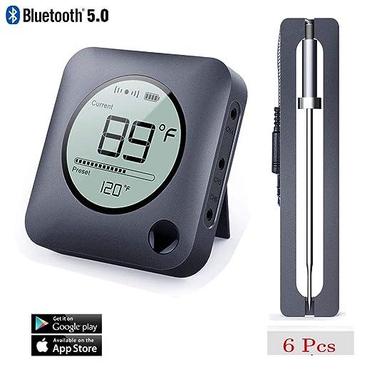 NeeQi - Termómetro de Carne con Bluetooth, inalámbrico, Digital ...