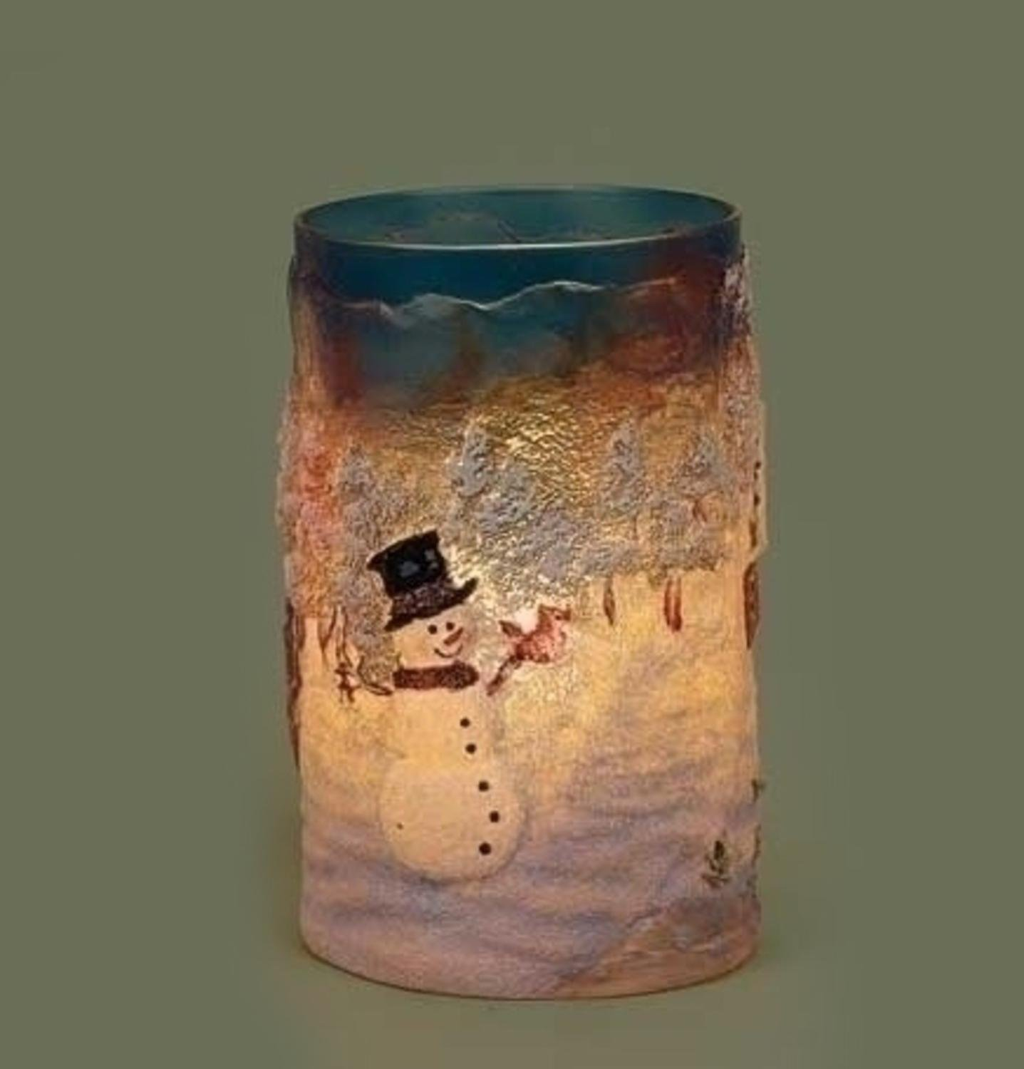 6'' Country Rustic Snowman Cottage Winter Scene Textured Christmas Votive Candle Holder