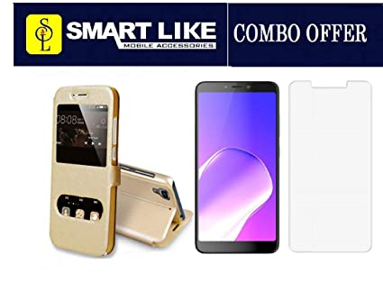 SmartLike Infinix Hot S3 X573 Gold Window Flip Cover +: