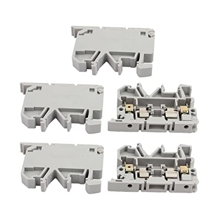 uxcell 5pcs ask1en din rail mount fuse holder terminal block 500v 4mm2 cable gray Touch Safe Fuse Holders