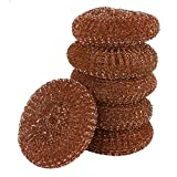 Copper Scourers 6pk, Heavy Duty Dish Scourers, Copper Coated Metal for Tough Scrubbing, 6 Pack Dish Scourers