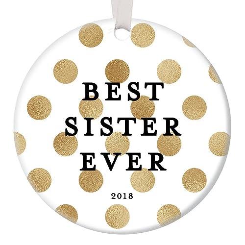 <b>Amazon</b>.com: <b>Best</b> Sister Ever <b>2018 Christmas Gift</b> Ornament Ceramic ...