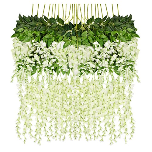 iHomer 12 Pack 3.6 Feet Artificial Fake Wisteria Vine Rattan, Hanging Silk Flowers String for Home Party, Yard and Wedding Décor-White