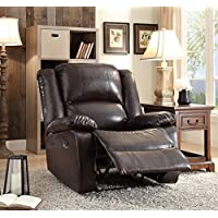 ComfortScape Contemporary Wooden Framed Leather Recliner with Metal Reclining Mechanism, Espresso