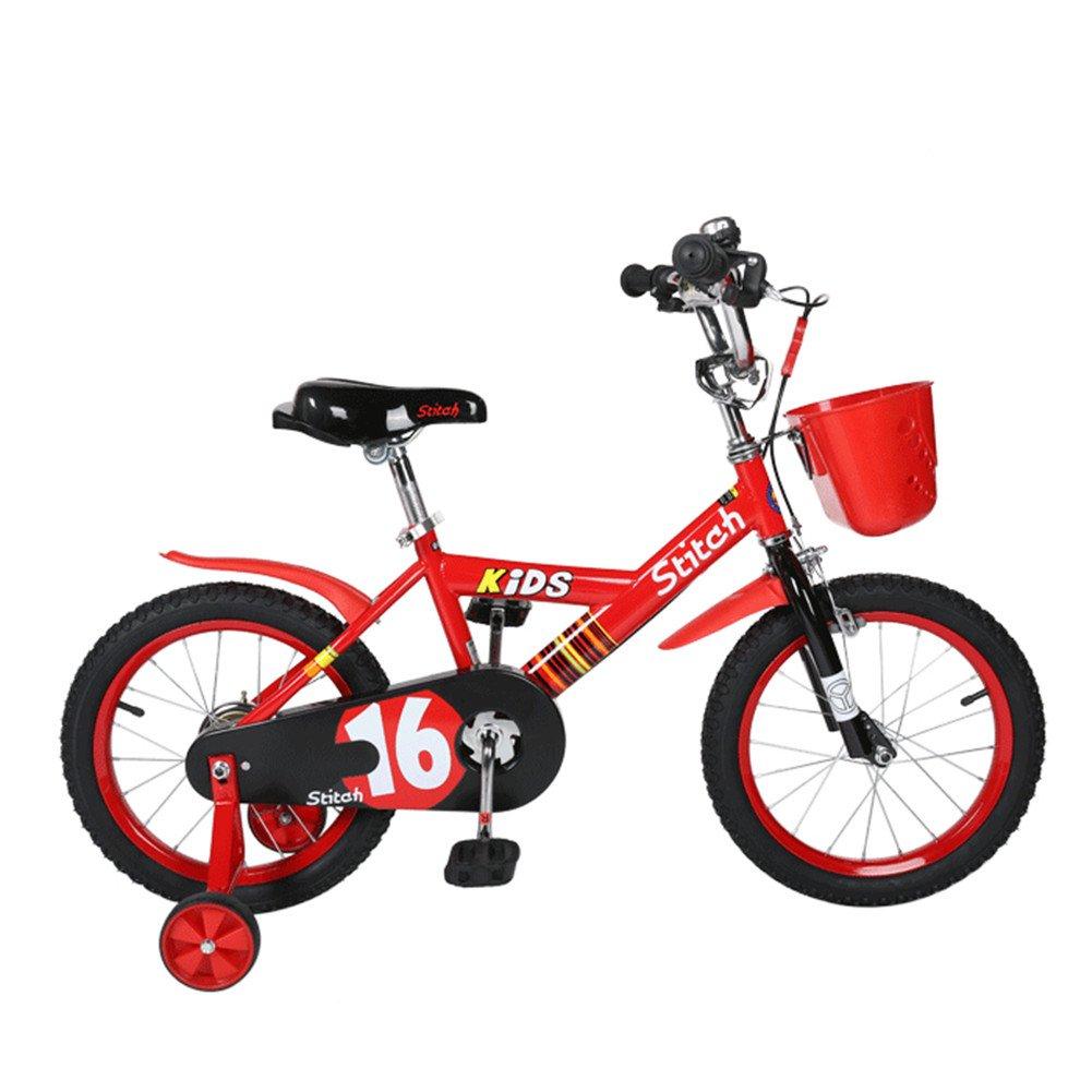 Lesute(ラシュット) 韓国風子供用自転車 バスケット付き 泥除け付き 補助輪付き 滑り止めハンドル付き 全3色 全3サイズ B01AJK32HS 14インチ|レッド レッド 14インチ