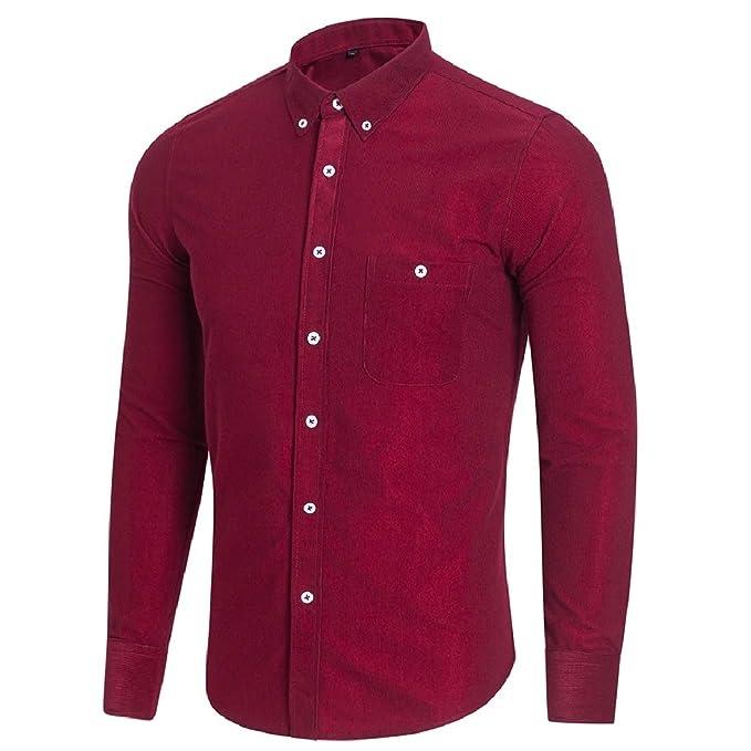 Beeatree Men Pure Color Blazer Plus Size Button-Down-Shirts Tops Shirt