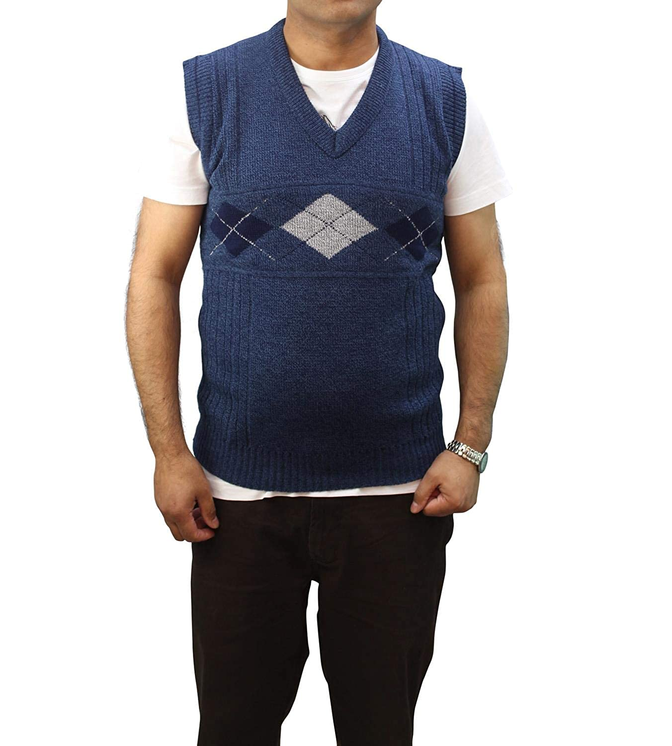 Clothing Trader Mens Tank Top Sweater Diamond Design Grandad 3459