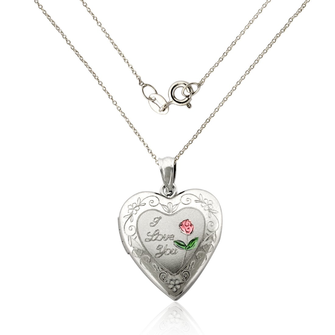 925 Sterling Silver ''I LOVE YOU'' Heart Locket Necklace with pink engraved Flower/18'' chain