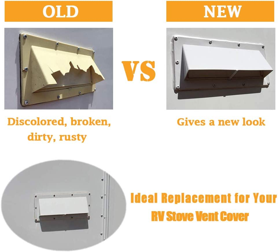 White RV Stove Vent Cover//RV Exhaust Vent Cover Gekufa RV Range Hood Vent Cover Include 10 Pcs Screws