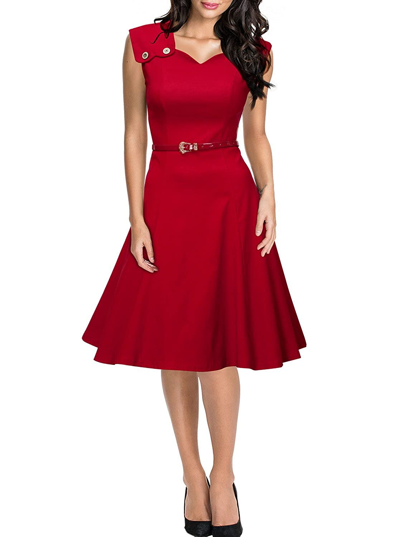 Miusol® Damen Elegant Sommerkleid Ärmellos Knöpfe Cocktailkleid Rockabilly 50er Jahr Party Kleid Rot EU 36-48