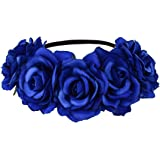 DreamLily Women's Hawaiian Stretch Rose Flower Headband Floral Crown for Garland Party BC12