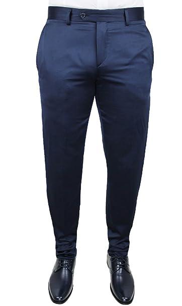 557f6182e0 Pantalone elegante uomo blu lucido cotone cerimonia Made in Italy ...