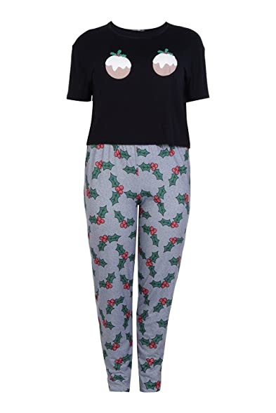 Boohoo Womens Plus Size Louisa Christmas Pudding PJ Set In Black Size 14