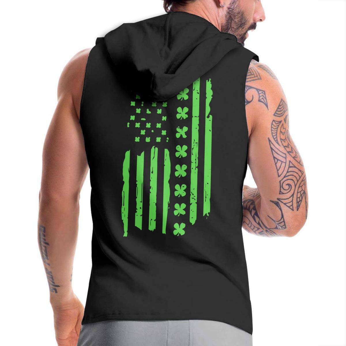 Patricks Day Irish American USA Flag Mens Sleeveless Full Zip Hooded Sweater Slim Fit Tank Top BB/&YYY St