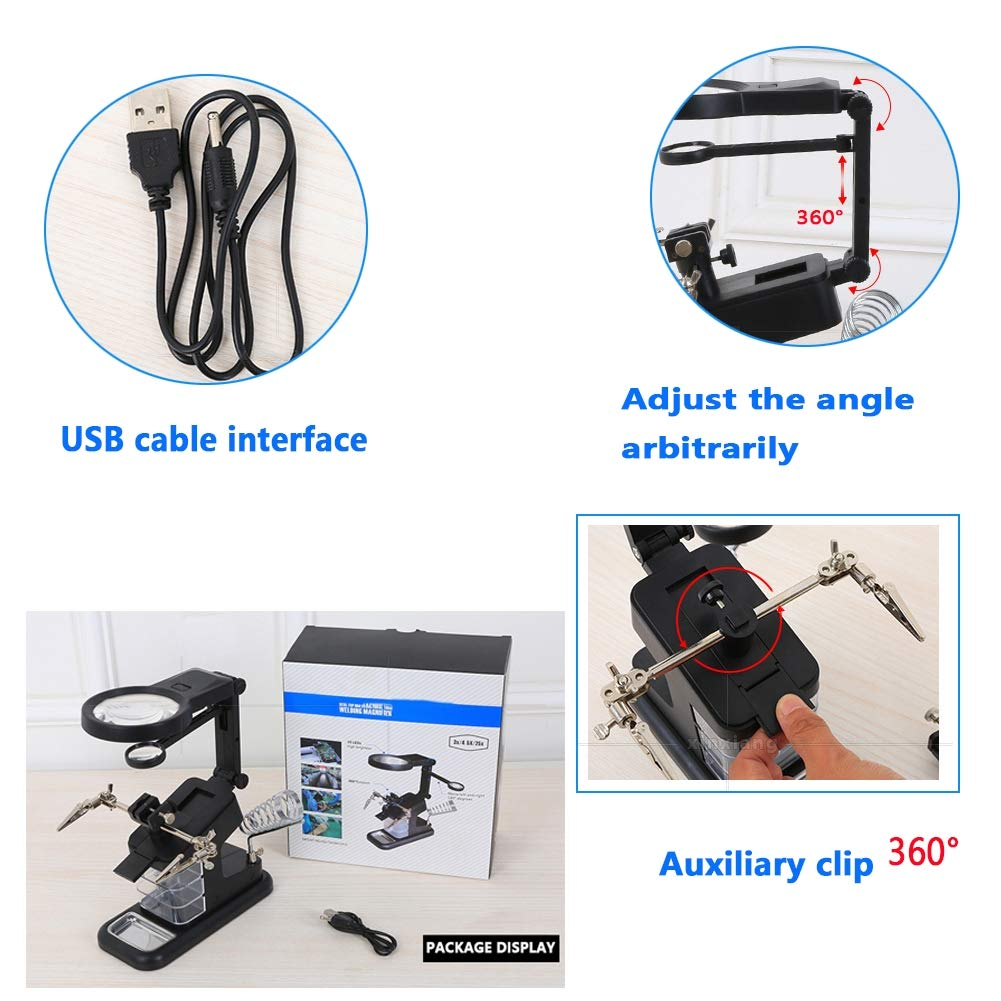 Crafts Modeling Repair Soldering Assembly BQJ 10 LED Helping Hands Magnifier Soldering Station-3x//4.5x//25x Hands Free Magnifying Glass,Stand with Clamp and Alligator Clips