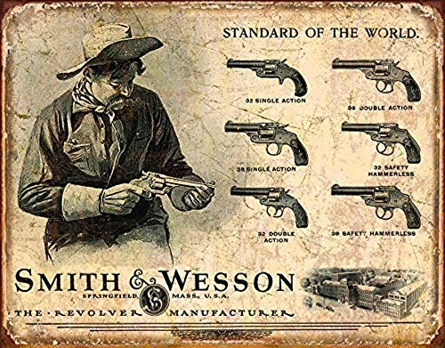 "Desperate Enterprises Smith & Wesson Revolver Manufacturer Tin Sign, 16"" W x 12.5"" H"
