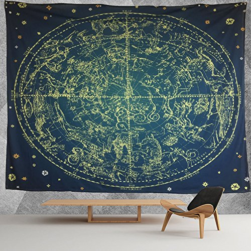 HWMR 12 Constellations Map Wall Decor Art Universe Galaxy Nebula Space Star Constellation Tapestry Wall Hanging Blue and Black Wall Collage Dorm Beach Bedroom Throw Tapestries 60x90 Inch