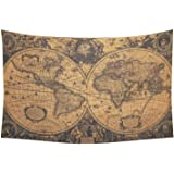 D-Story Custom Wall Tapestry Vintage World Map Cotton Linen Tapestry Wall Hanging 40x 60