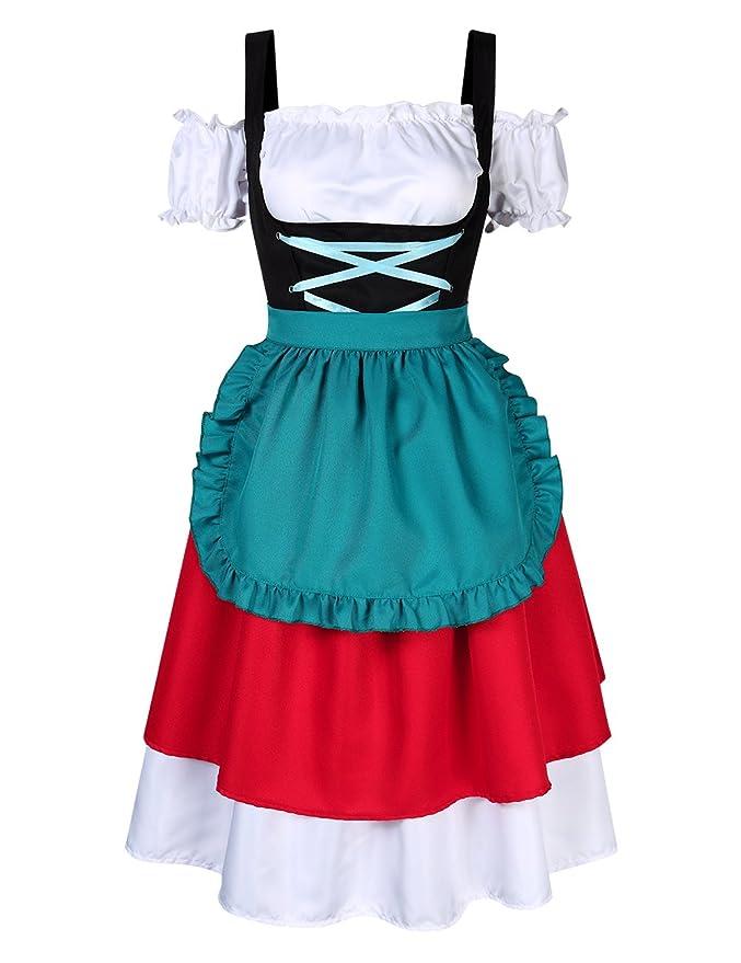 KOJOOIN Trachten Damen Dirndl Set - Midi Trachtenkleid Kurzarm Dirndlbluse für Oktoberfest - DREI Teilig: Kleid, Bluse, Schür