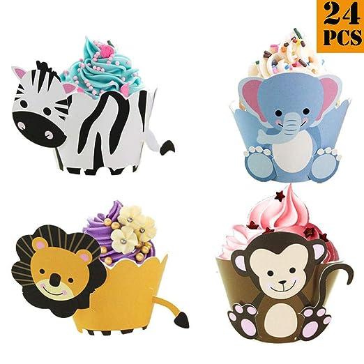 24pcs/lote Wild Animal Cupcake Wrappers Cumpleaños Pastel Fiesta Decoración Suministros León Mono Cebra relón Elefante Bebé Ducha Postre Mesa ...