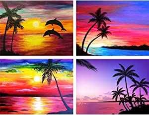4 Pack of 5D Diamond Painting Kits, DIY Diamond Rhinestones Cross-Stitch Embroidery Crafts Art for Wall Decoration Coconut Tree 15.7X11.8IN by Bemaystar