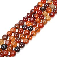 2 Strands AAA Natural Brown and Orange Agate Gemstone 4mm Round Loose Stone Beads 15 Inch per Strand for Jewelry Making…
