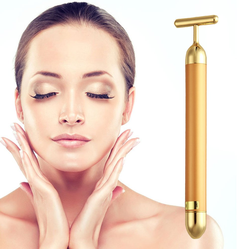 Beauty Bar 24k Golden Pulse Facial Massager, TOP-MAX T-Shape Electric Sign Face Massage Tools for Sensitive Skin Face Pull Tight Firming Lift, Anti-Wrinkles,Skin Tightening, Anti-Aging Device