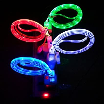 Keklle 4 pcs Glow in the Dark Light up LED Lightning Charging Cable for iphone 7 7 plus 5 5s 6 6 Plus iphone LED cable iphone 7 led charging cable led