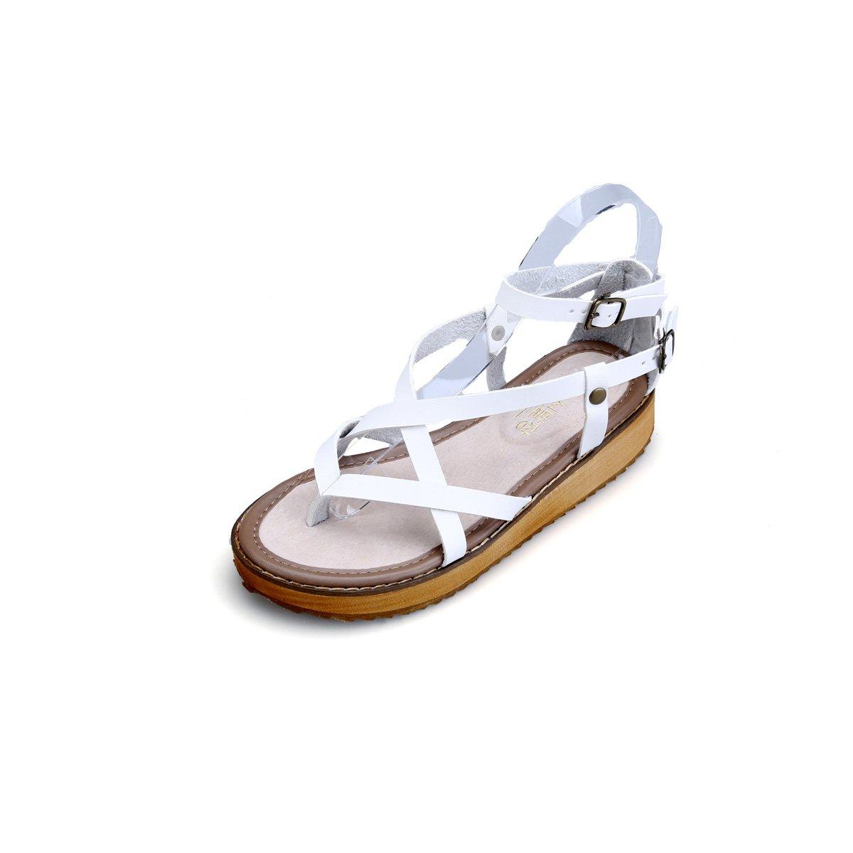 gracosy Damen Sandalen, Sommer Leder Pantoletten Flach Sandalen Damen Slip-Ons Vintage Slipper Zehentrenner Clogs Bequem Blume Sommerschuhe  36 EU|Wei?
