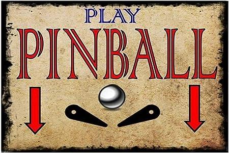 Play Pinball Póster De Pared Metal Retro Placa Cartel Cartel ...
