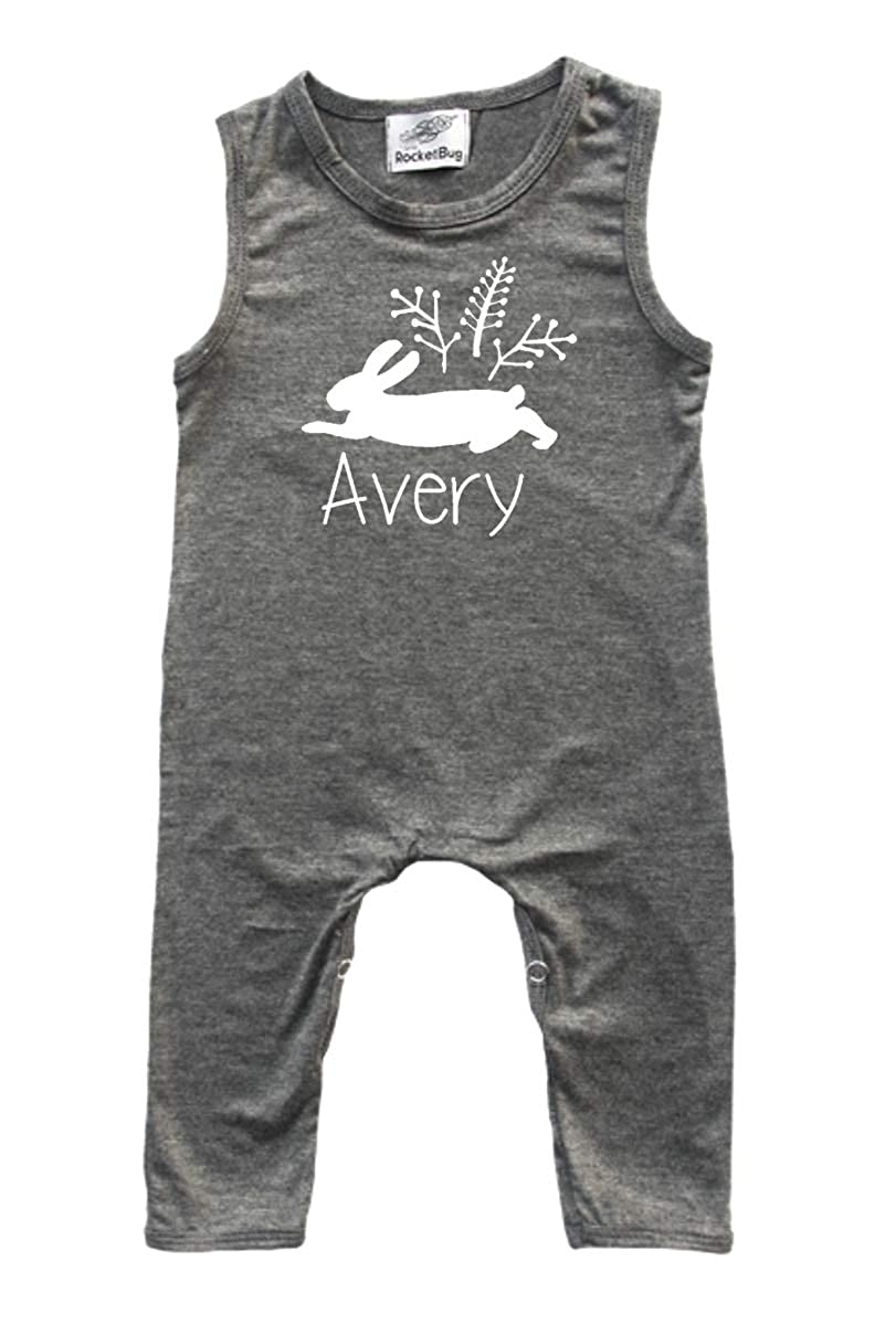 Personalized Wild Rabbit Baby Romper and Bodysuit for Boys and Girls