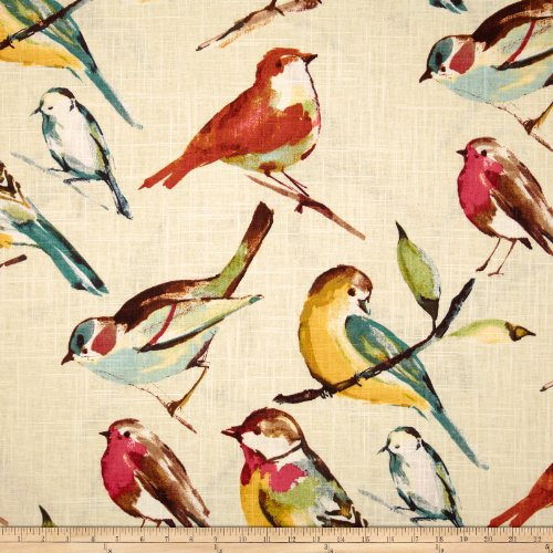 Richloom Fabrics 0284402 Birdwatcher Fabric, Meadow -