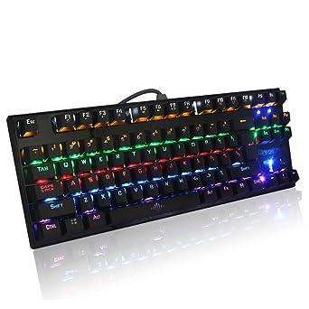ARTSTORE Teclado para juegos con retroiluminación LED con cable, teclado para PC y juegos de