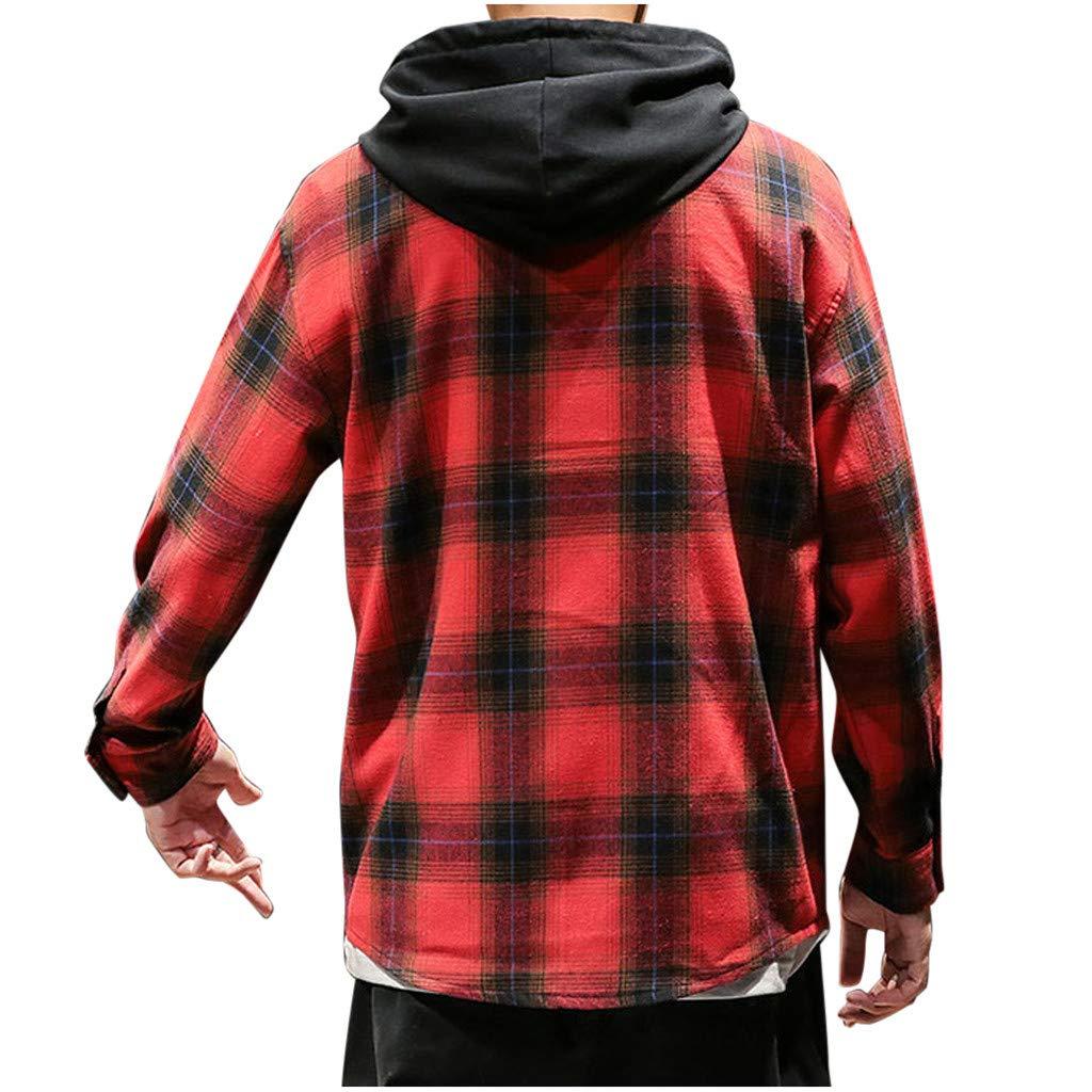 KNDDY Mens Casual Hoodie Jackets Check Patterned Loose Hoodie Long Sleeve Shirt Top Blouse